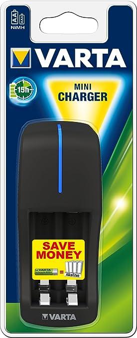 VARTA Mini Charger - Cargador de pilas AA o AAA recargables