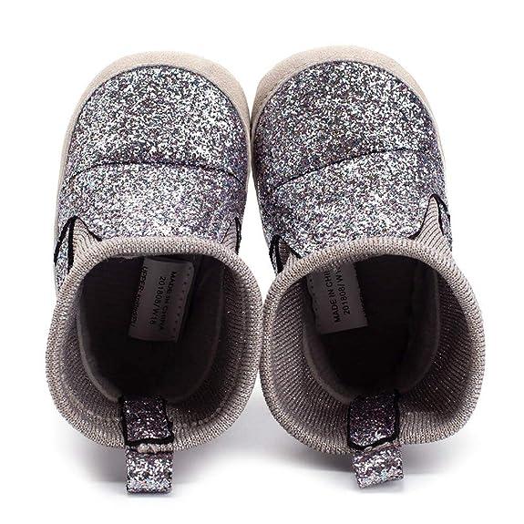 K-youth Botas Niña Invierno Caliente Botines Lentejuelas Cálidas Botas para Niños Zapatos para Bebés Zapatos De Algodón Antideslizantes Zapatillas de ...