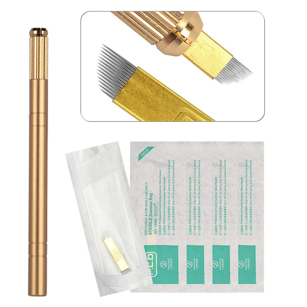Koolsants Tattoo Hand Pen + 14-Pin Blade Needles Set Permanent Makeup Eyebrow Manual Pen Microblading Pencil Tool, Gold Kool4U