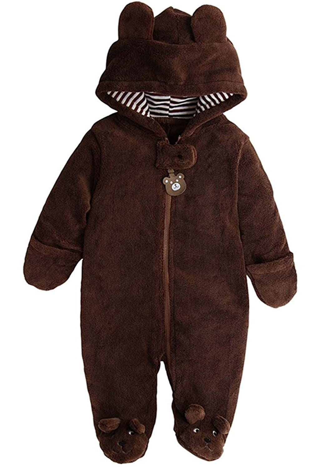 Newborn Baby Boys Girls Cute Bear Winter Fleece Hoodie Romper Jumpsuit Outfits