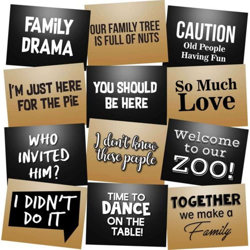 Family Reunion Photo Booth Props Accessories Kit Party Signs - Set of 12