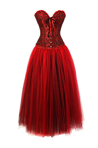 Womens Gothic Vintage Corset Skirt Set Moulin Rouge Dancer Fancy Clubwear: Amazon.es: Ropa y accesorios