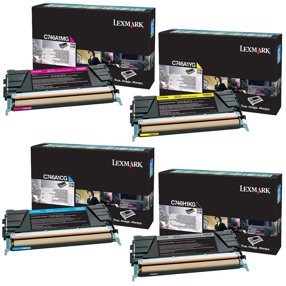 Lexmark C746H1KG High Yield Black with C746A1CG, C746A1MG, C746A1YG Standard Yield Color Toner Cartridge Set - Lexmark C746dn