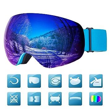 Laxstory Skibrille Für Damen und Herren Ski Snowboard Brille brillenträger Skibrille OTG UV400 Anti Fog UV Schutz Skibrillen Verbesserte Belüftung für