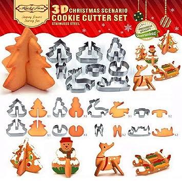 MUMENG Navidad 3d moldes de cocción de galletas, cortadores de galletas de acero inoxidable Set, favorito vacaciones formas 8pcs Set: Amazon.es: Hogar