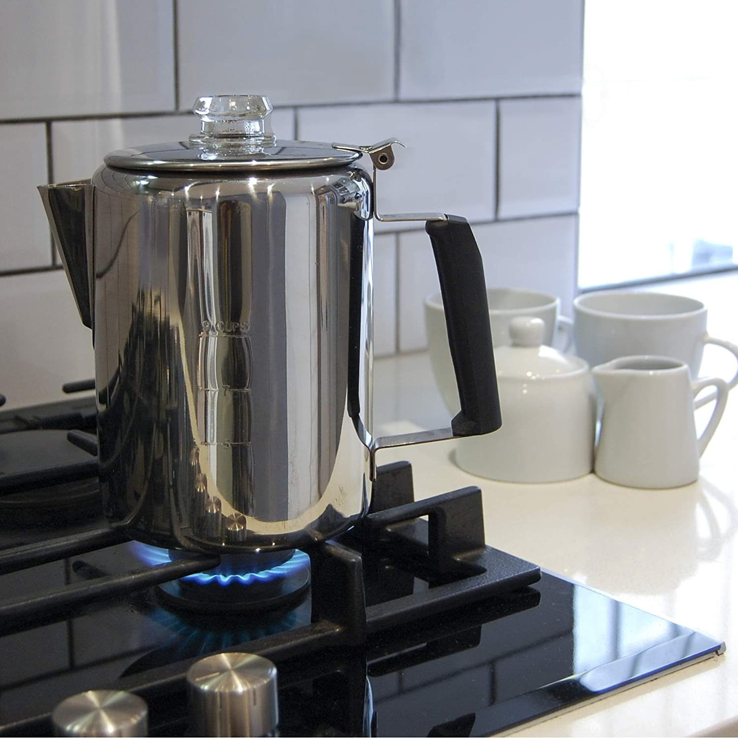 Camping Percolator - Our Camp Percolator Coffee Pot for Outdoor Cookware - 9 Cup Stainless Steel Coffee Maker for Cabin and RV Kitchen Stovetop Too