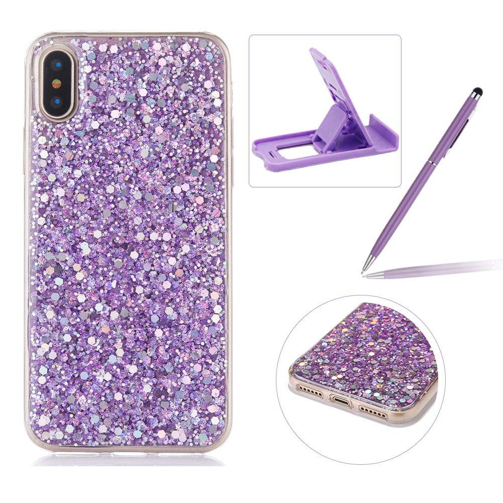 ゴムTpuケースiPhone X、herzzerスリム軽量カラーChangingキラキラとラグジュアリーユニーク[赤スパンコール] Bling Shiny SparkleソフトジェルクリアバンパーフレームカバーIphone X B075Q59C93 Sequins,Purple Sequins,Purple