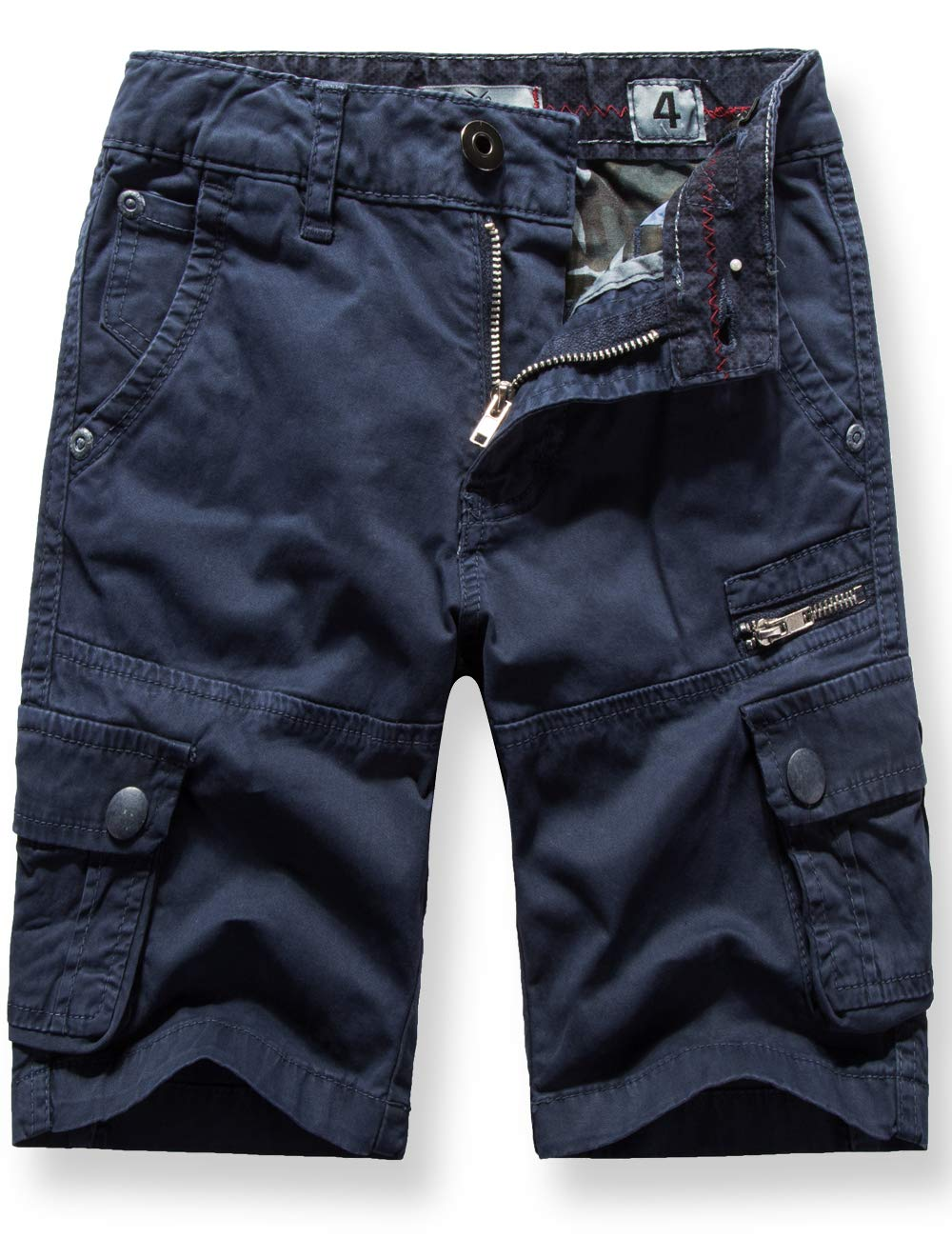WIYOSHY Boys' Cargo Shorts Adjustable Waist Multi Pocket Outdoor Denim Shorts (Navy-2, 160 (Size 14))