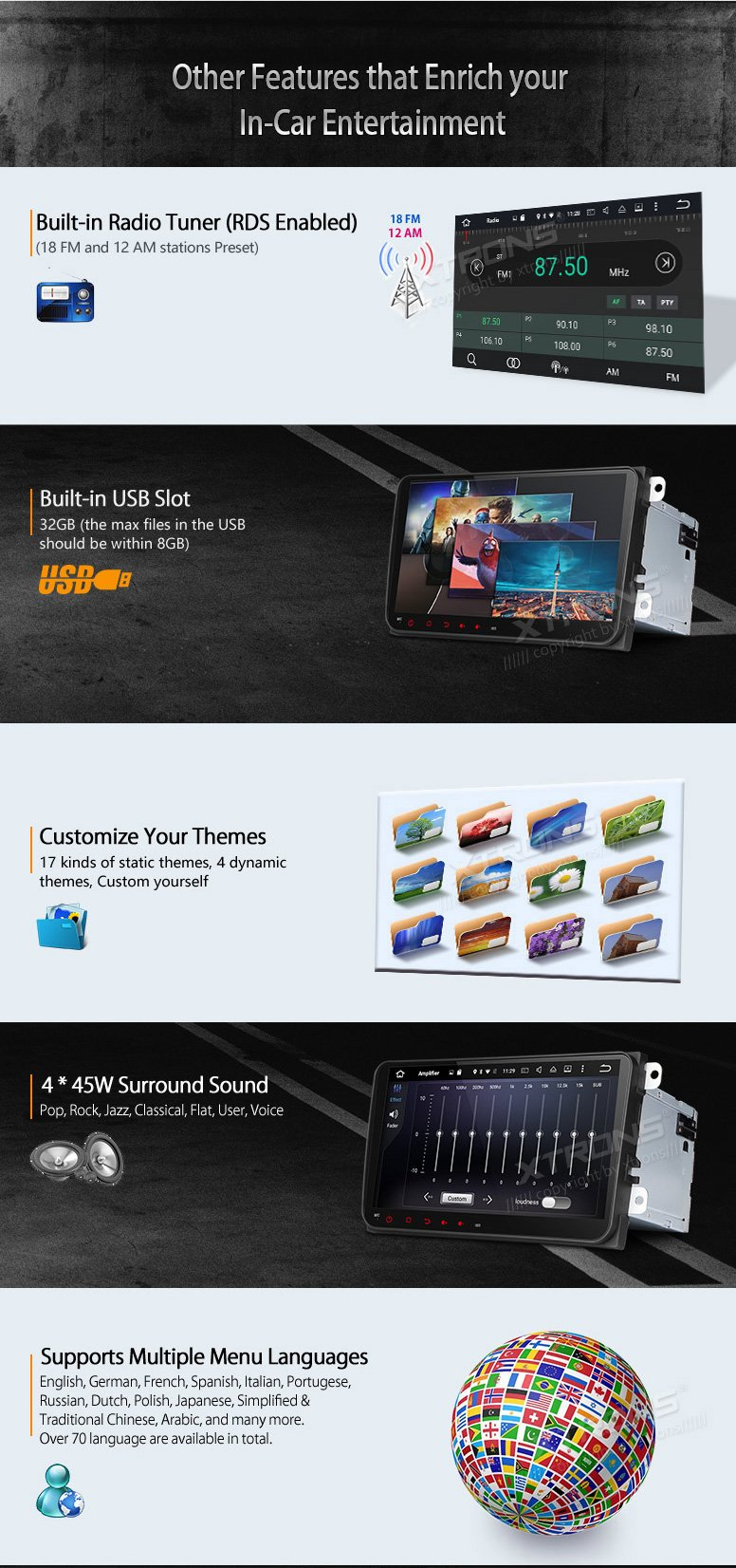 XTRONS Android 6.0 Octa-Core 9 Inch Capacitive Touch Screen Car Stereo Radio DVD Player Screen Mirroring Function OBD2 Tire Pressure Monitoring for VW Caddy Golf 2003-2013 Reversing Camera Included by XTRONS (Image #8)
