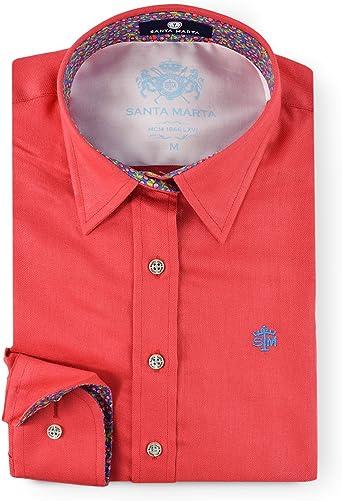 Camisa Lisa Color Rojo con Estampado frutal en Contraste de Corte Entallado para Mujer: Amazon.es: Ropa y accesorios