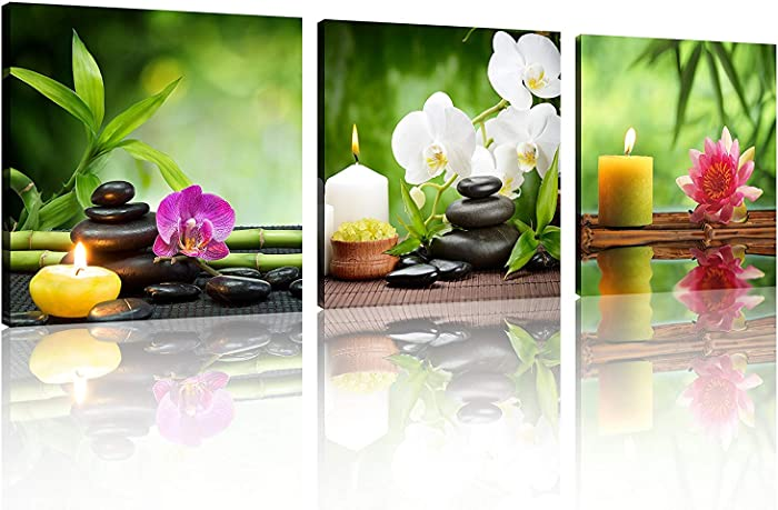 TutuBeer 3 Panel Spa Still Life with Aromatic Candles and Zen Stones Modern Wall Decor Home Decoration Gallery Canvas Wrap Giclee Print & Ready to Hang Stretched and Framed Each Panel 12x12inch