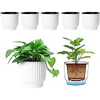 T4U Plastic Self Watering Planter, Long Term Water Storage Plant Pot/Macaron-Colored Flower Pots Outdoor Indoor Yard…