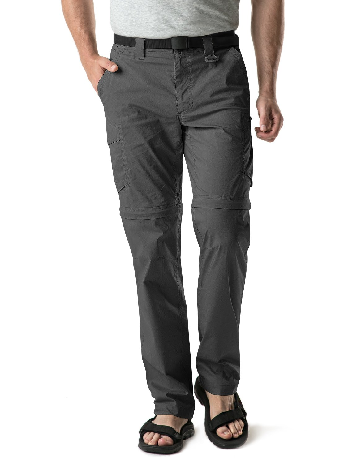 CQR CQ-TXP402-CHC_32W/30L Men's Convertible Pants Zipp Off Stretch Durable UPF 50+ Quick Dry Cargo Shorts Trousers TXP402