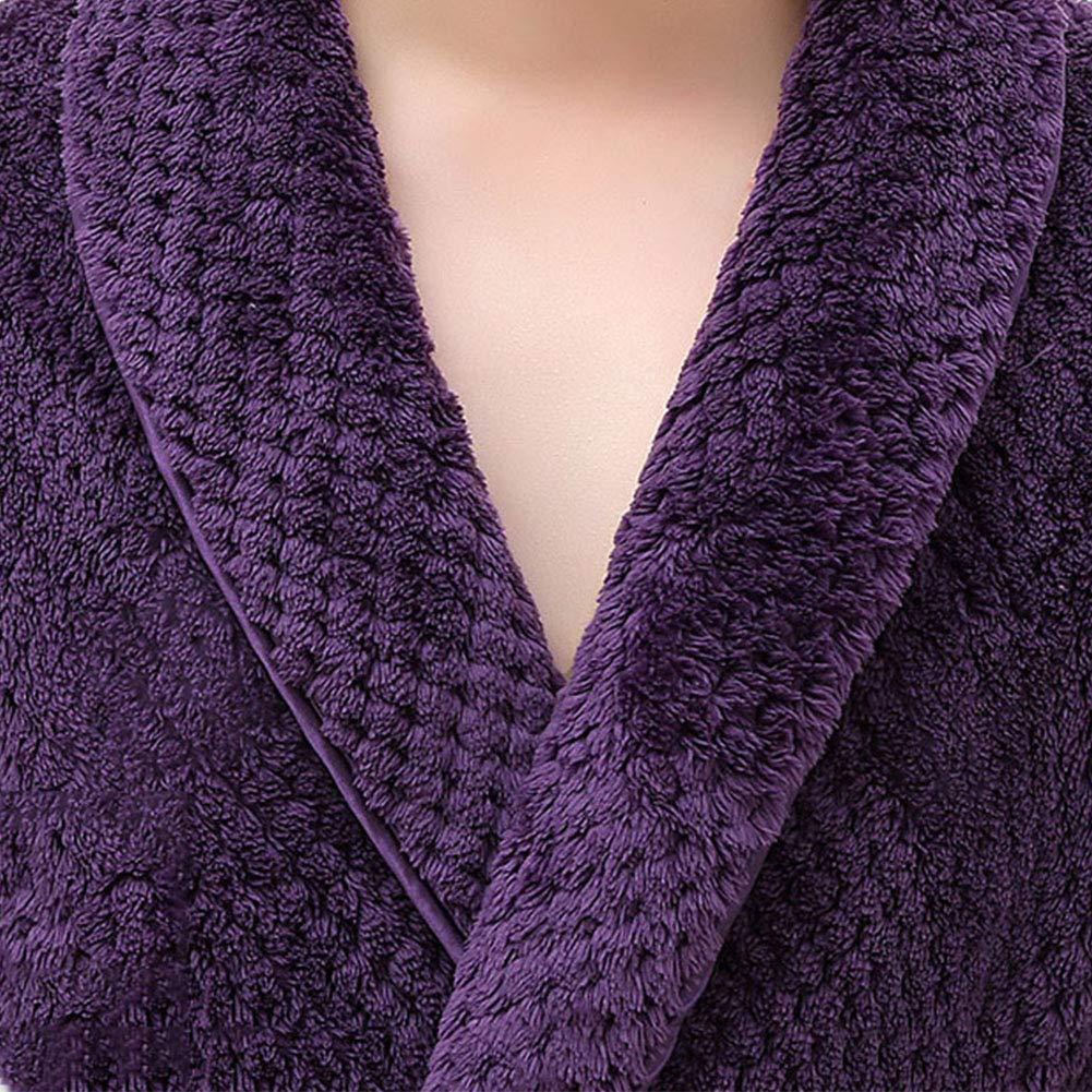 Loveylife Mens Long Sleeve Fleece Bathrobe Shawl Collar Warm Robe