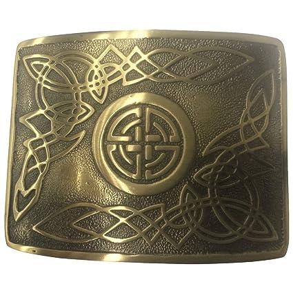 Brand New Scottish Kilt Belt Buckle Gold Drum Badge Design Chrome Finish