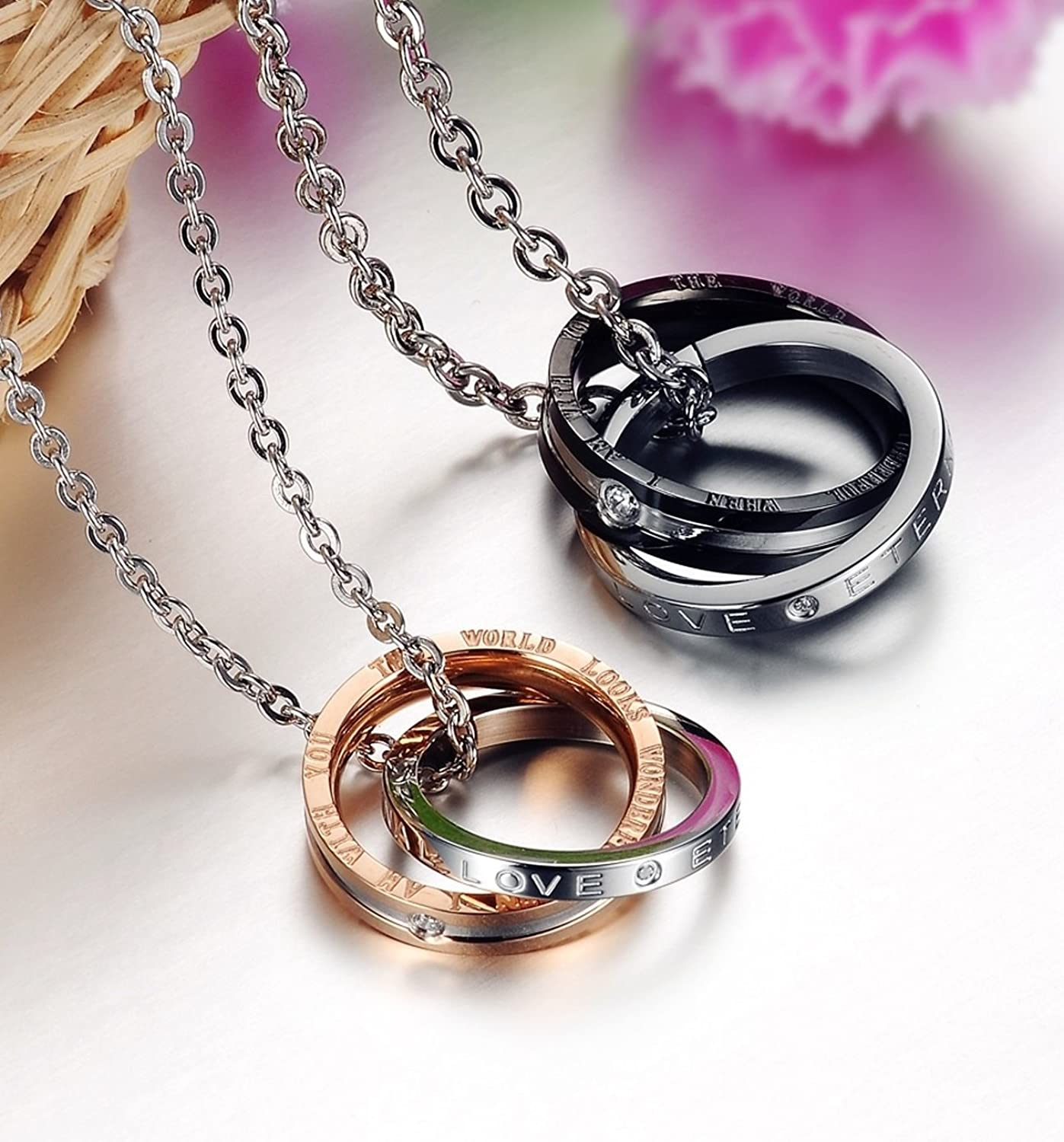 His and Hers Matching Set Titanium Stainless Steel Couple Pendant Necklace Korean Love Style in a Gift Box romantic Christmas gifts men