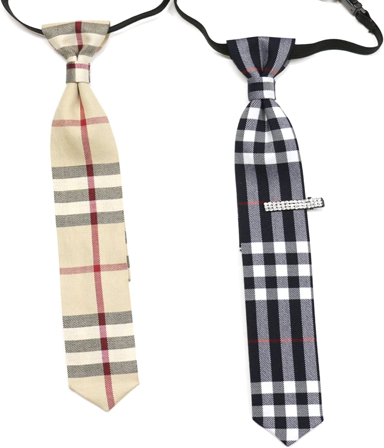 Bow Ties for Kids Girliber Beige Checkered Bow tie and Tie Slim Style Necktie,