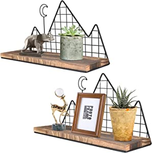 Homode Floating Shelves Wall Mounted, Set of 2 Rustic Wood Storage Shelves Display Racks for Nursery Bedroom Bathroom Kitchen Office, Mountain Metal Wire Design