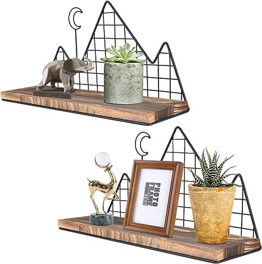 Wall Hanging Storage Unit Retro Floating Shelves Display Shelf Metal Wire Racks