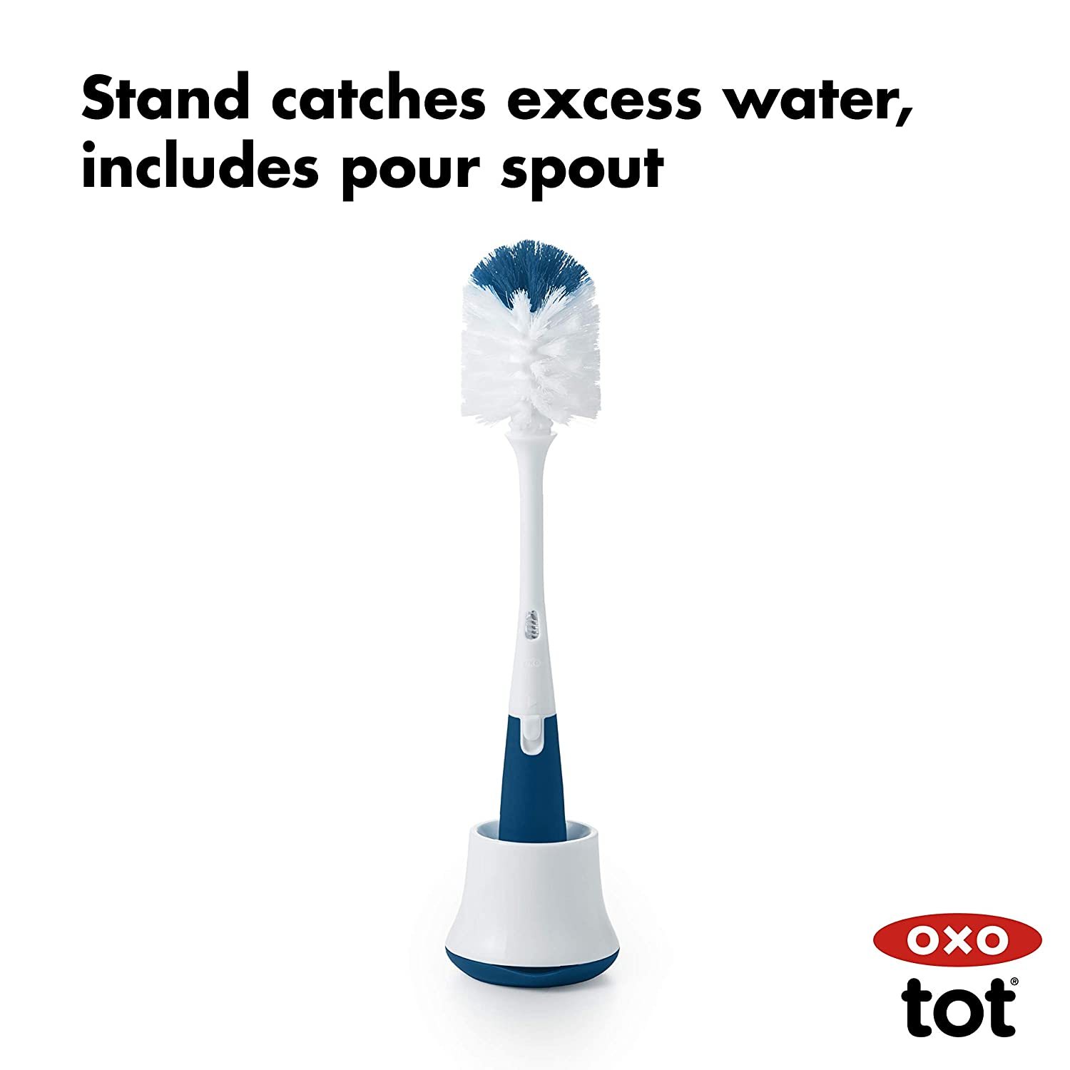 OXO Tot Bottle Brush with Nipple Cleaner and Stand Aqua