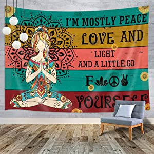 MERCHR Yoga Tapestry, Mandala Tapestry Wall Hanging with Yoga Meditation Quotes, Colorful Bohemian Psychedelic Wall Art Small Boho Tapestry for Bedroom Living Room Dorm Home Decor 60X40 Inches