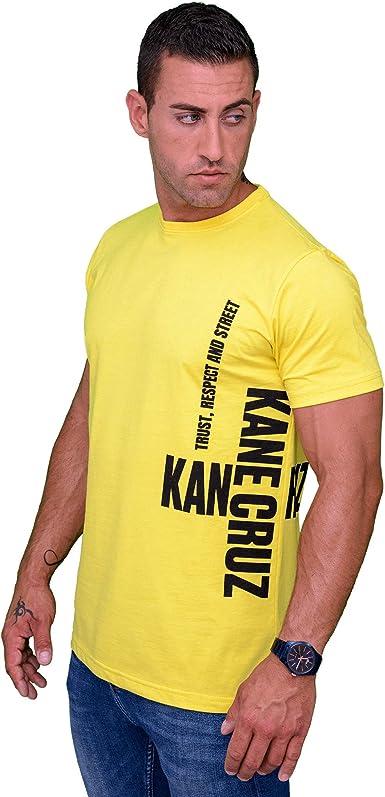 Kane Cruz - Roomy Saido Yellow Black - Camiseta Manga Corta Hombre - Fabricada en España - Moda Urbana: Amazon.es: Ropa y accesorios