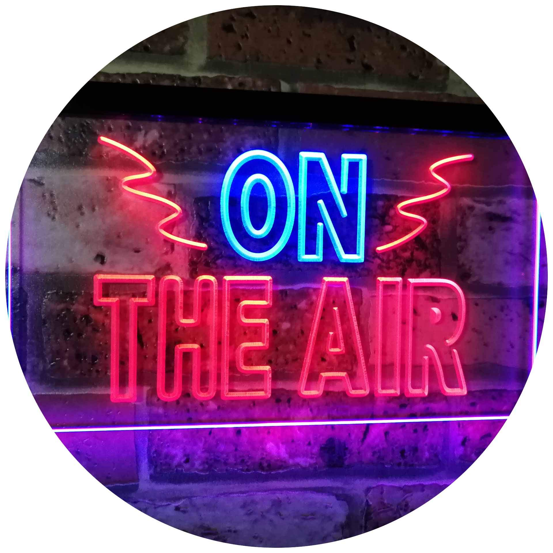 AdvpPro 2C On Air Studio Recording in Progress Dual Color LED Neon Sign Blue & Red 12'' x 8.5'' st6s32-i2066-br