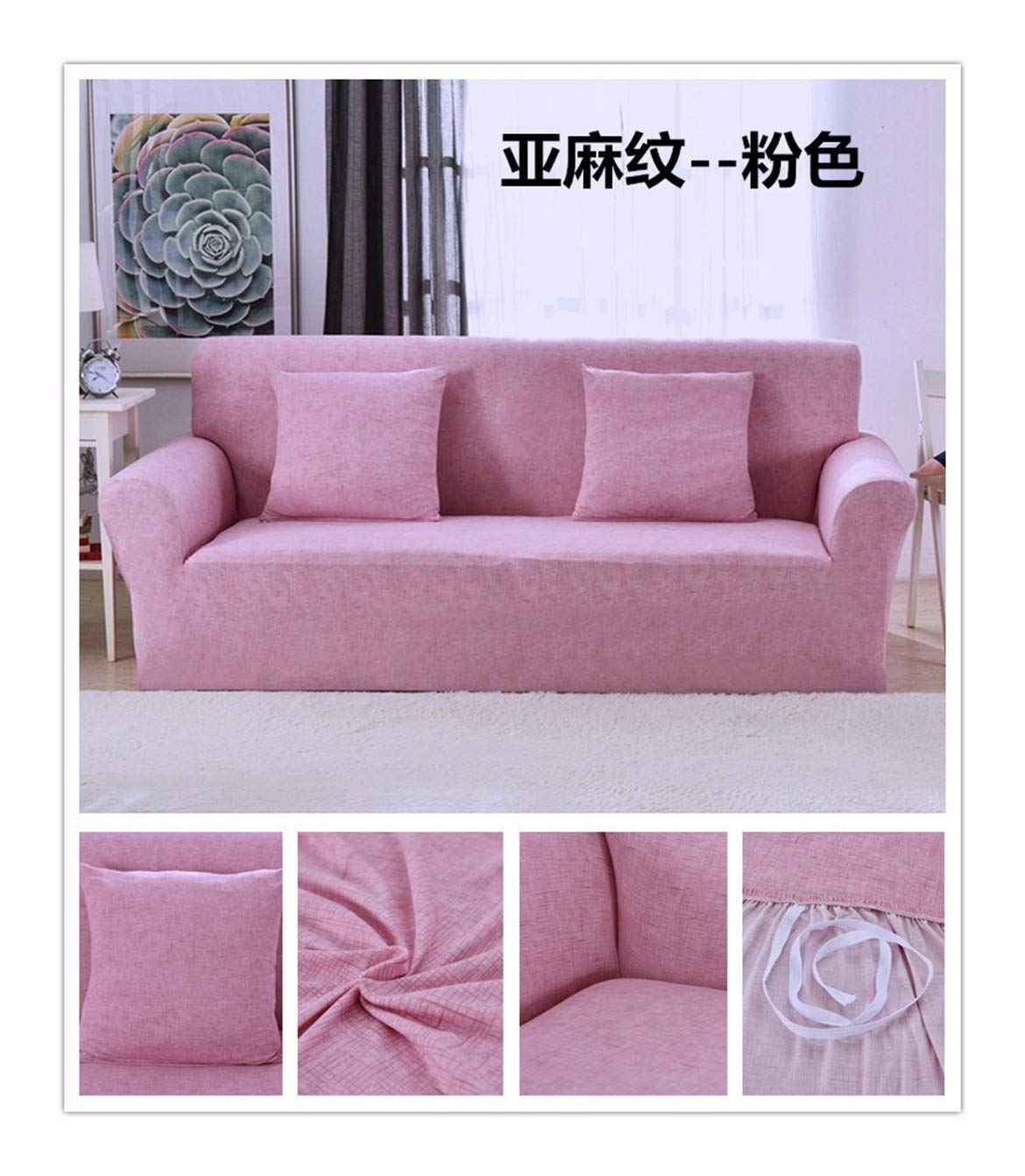 4seat VGUYFUYH Pink Anti-Skid Sofa Cover Polyester Full Package Elasticity Household Omnipotent Sofa Cover Simple Fashion One Piece Durable Dustproof Pet Dog Predective Cover,4Seat