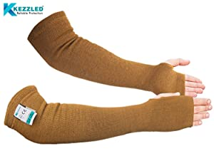 Kevlar Cut/Scratch/Heat Resistant Arm Sleeves 18 inches Long with Thumb Hole - Desert Tan (Cut Level 4, EN 388 Tested)