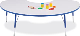 """product image for KYDZ Suite 72"""" x 48"""" Kidney Activity Table Side Finish: Freckled Gray with Blue Rainbow Accent, Table Height: Toddler (11"""" - 15"""")"""