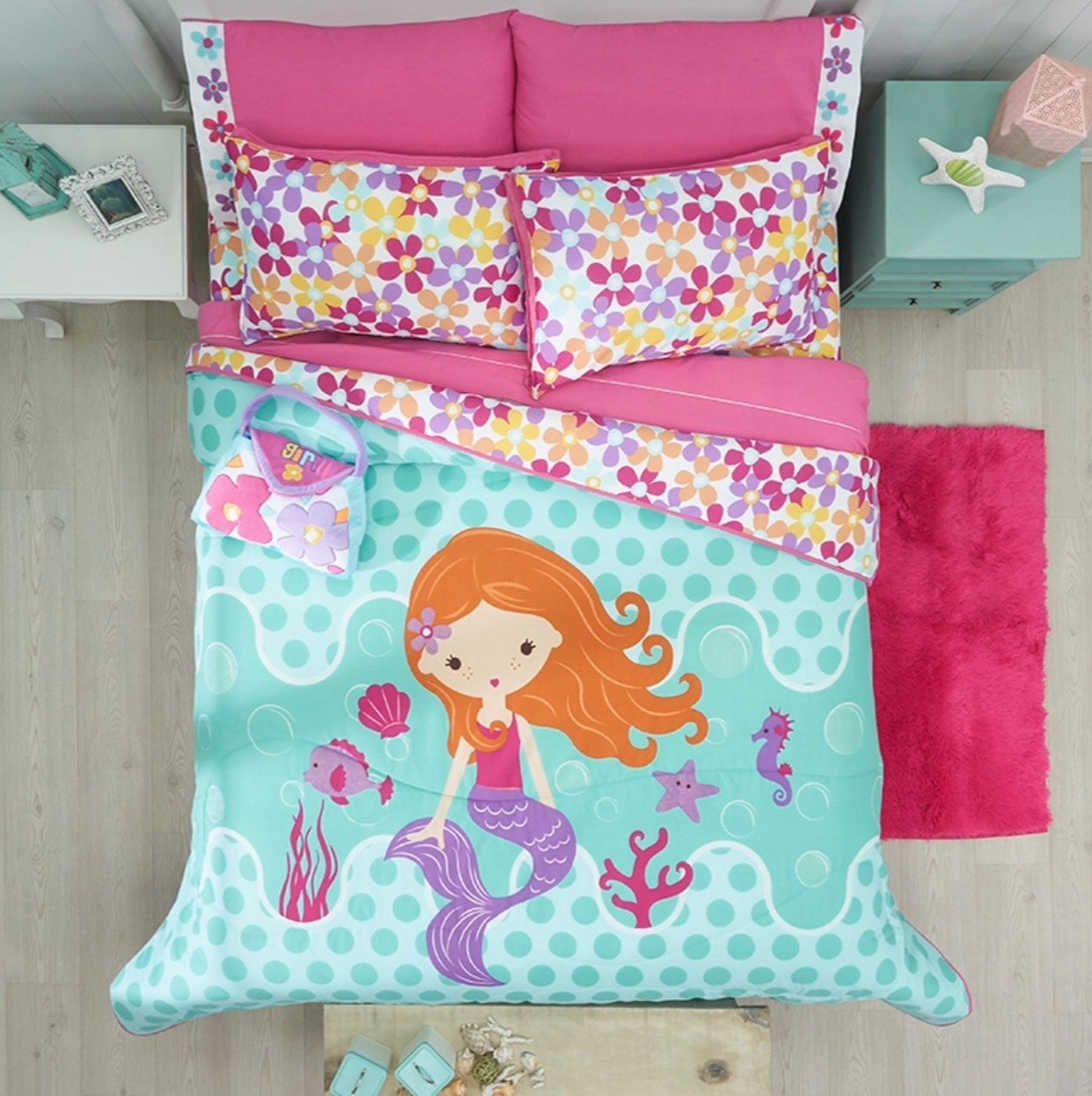 LITTLE MERMAID/FLOWERS TEENS GIRLS CUTE COLLECTION REVERSIBLE COMFORTER SET 3 PCS TWIN SIZE