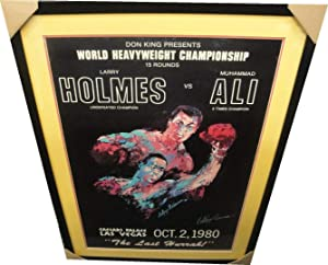 Leroy Neiman Hand Signed Autographed Muhammad Ali VS Larry Holmes Fight Poster - Autographed Boxing Photos