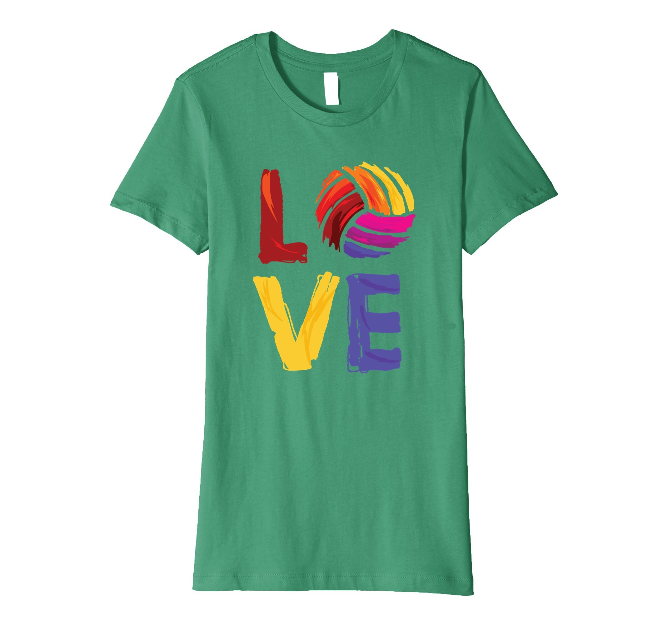 Womens Love Volleyball Shirt Small Kelly Green