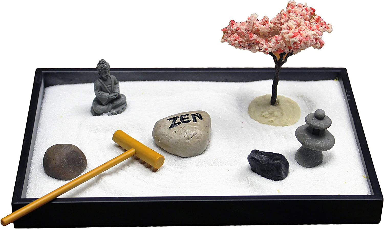 Nature's Mark, Mini Meditation Zen Garden Table Décor Kit with Accessories (8Lx5W Rectangle C)