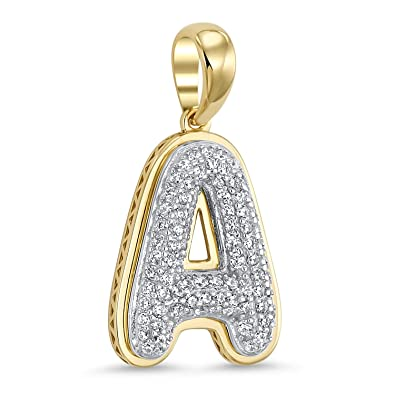 b0d5e5252 Amazon.com: 14k Yellow Gold Plated 925 Sterling Silver Cubic Zirconia Bubble  Initial Pendant A: Jewelry