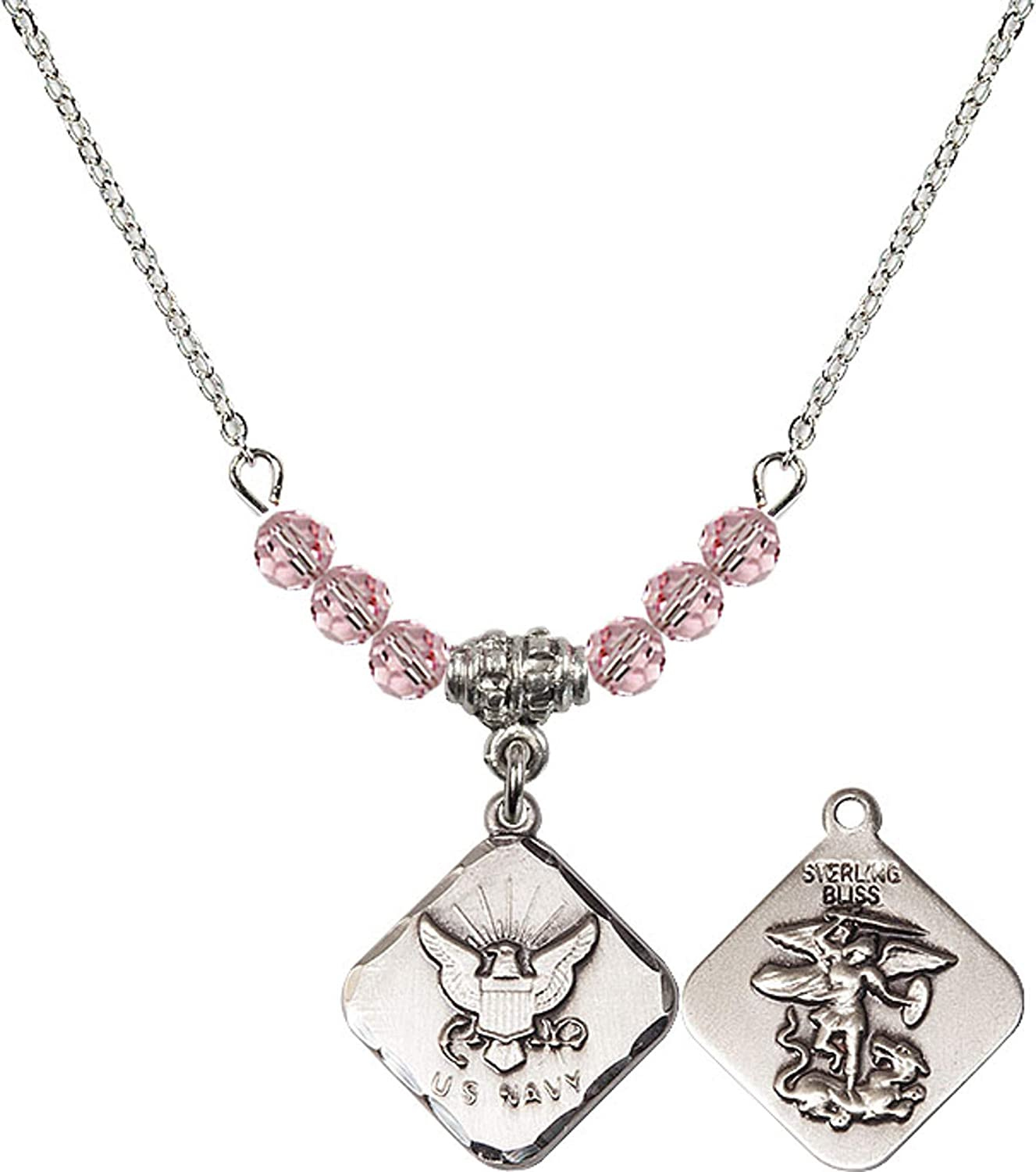 Bonyak Jewelry 18 Inch Rhodium Plated Necklace w// 4mm Light Rose Pink October Birth Month Stone Beads and Navy Diamond Charm