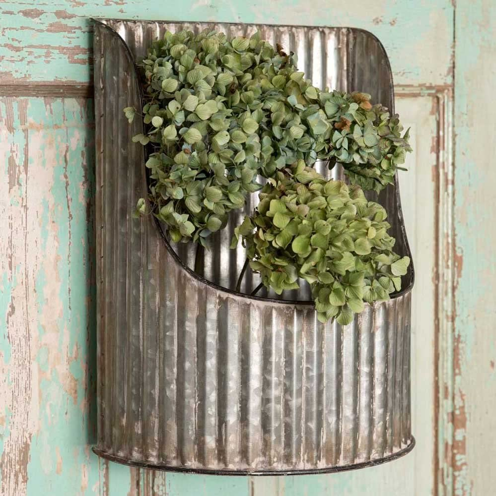 Colonial Tin Works Corrugated Metal- Half-Round Decorative Wall Bin Industrial Farmhouse,Grey