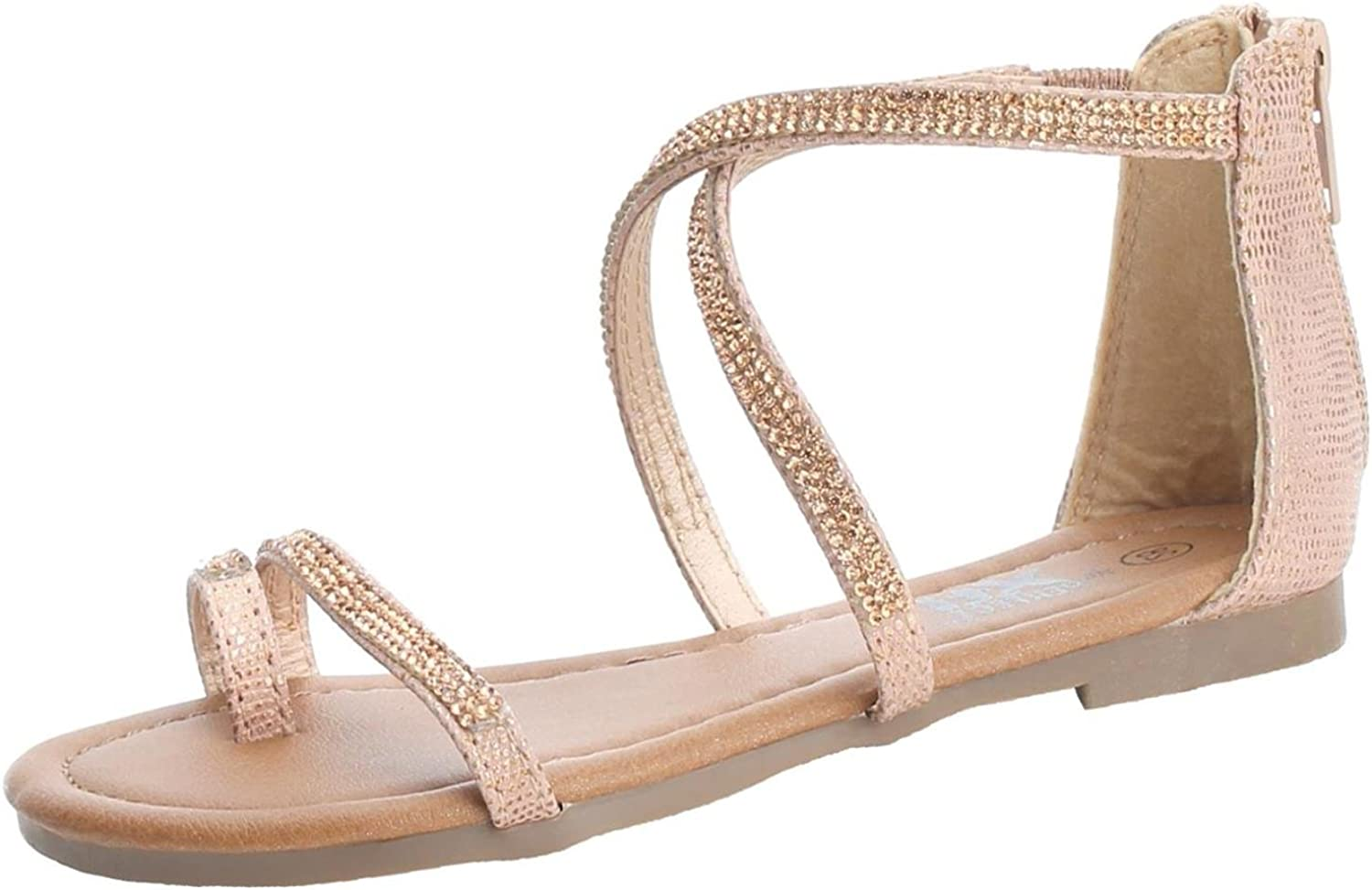 Girls Rose Gold Metallic Sandals with