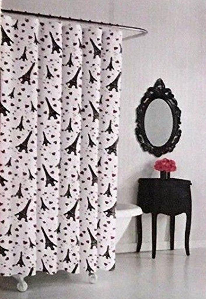 Betsey Johnson Paris Love EIffel Tower Fabric Shower Curtain