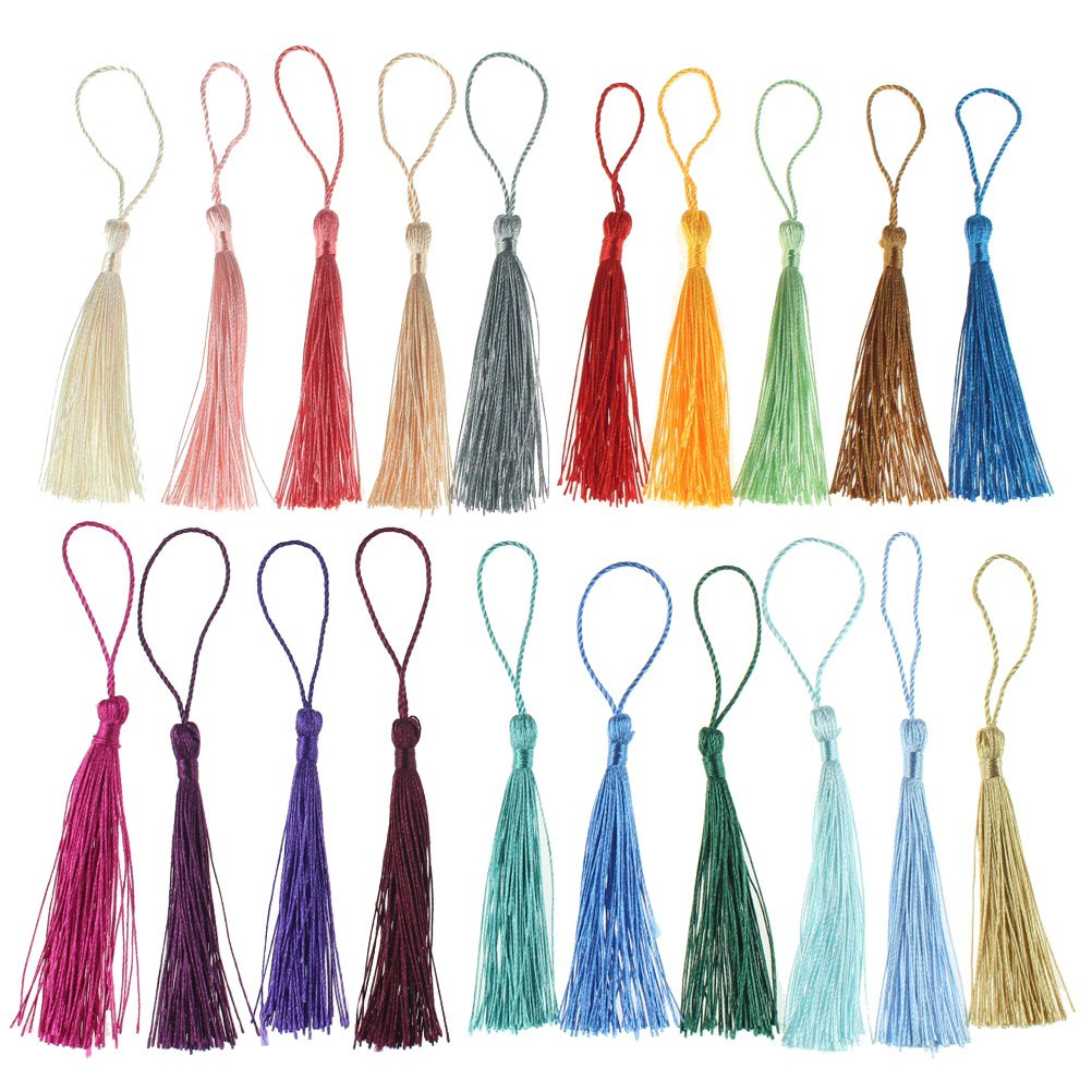Creatrill 100 Pcs 13cm/5 Inch Silky Handmade Soft Craft Mini Tassels with Loops for Jewelry Making, DIY Projects, Bookmarks, 20 Colors, 5 Pcs of Each Chengyuan 4337038500