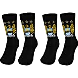 Manchester City FC Official Football Gift 2 Pair Pack Kids Boys Socks