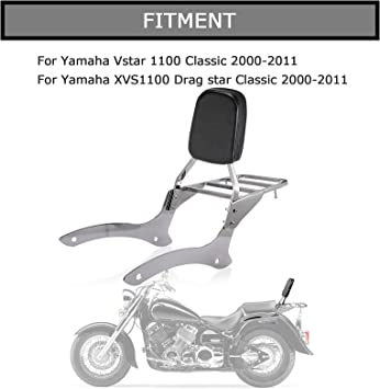 Three T Motorcycle Detachable Passenger Backrest Sissy Bar with Luggage Rack Compatible With Vstar 1100 Classic//Vstar XVS 1100 Classic//Dragstar XVS 1100 Classic//Dragstar 1100 Classic 2000-2011