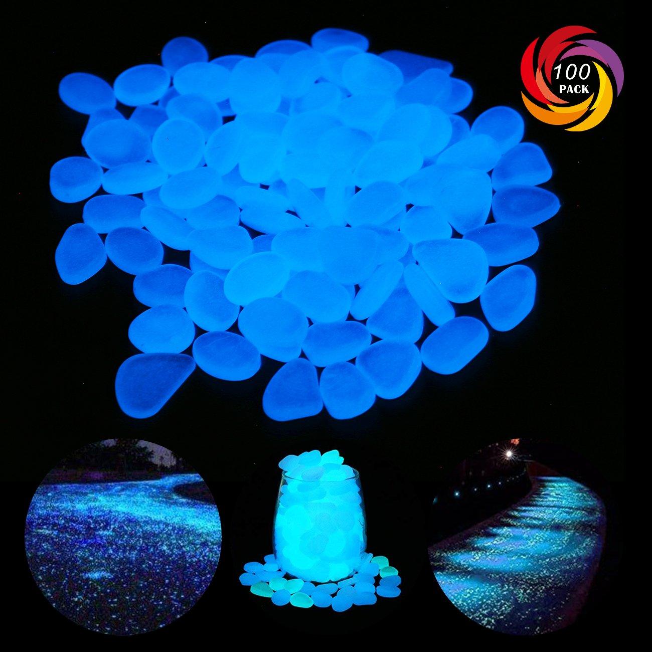 GeniusCells 2.2lb Glow in The Dark Garden Pebbles Glow Stones Rocks for Walkways Garden Path Patio Lawn Garden Yard Decor Luminous Stones
