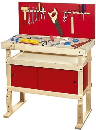 LEOMARK Kinderwerkbank HOLZ Massive WERKBANK 35 Teilen Werkzeug Workstation  Werkzeugkasten Heimwerker Laubsägeschrank WERKZEUGGÜRTEL Kinder Rot