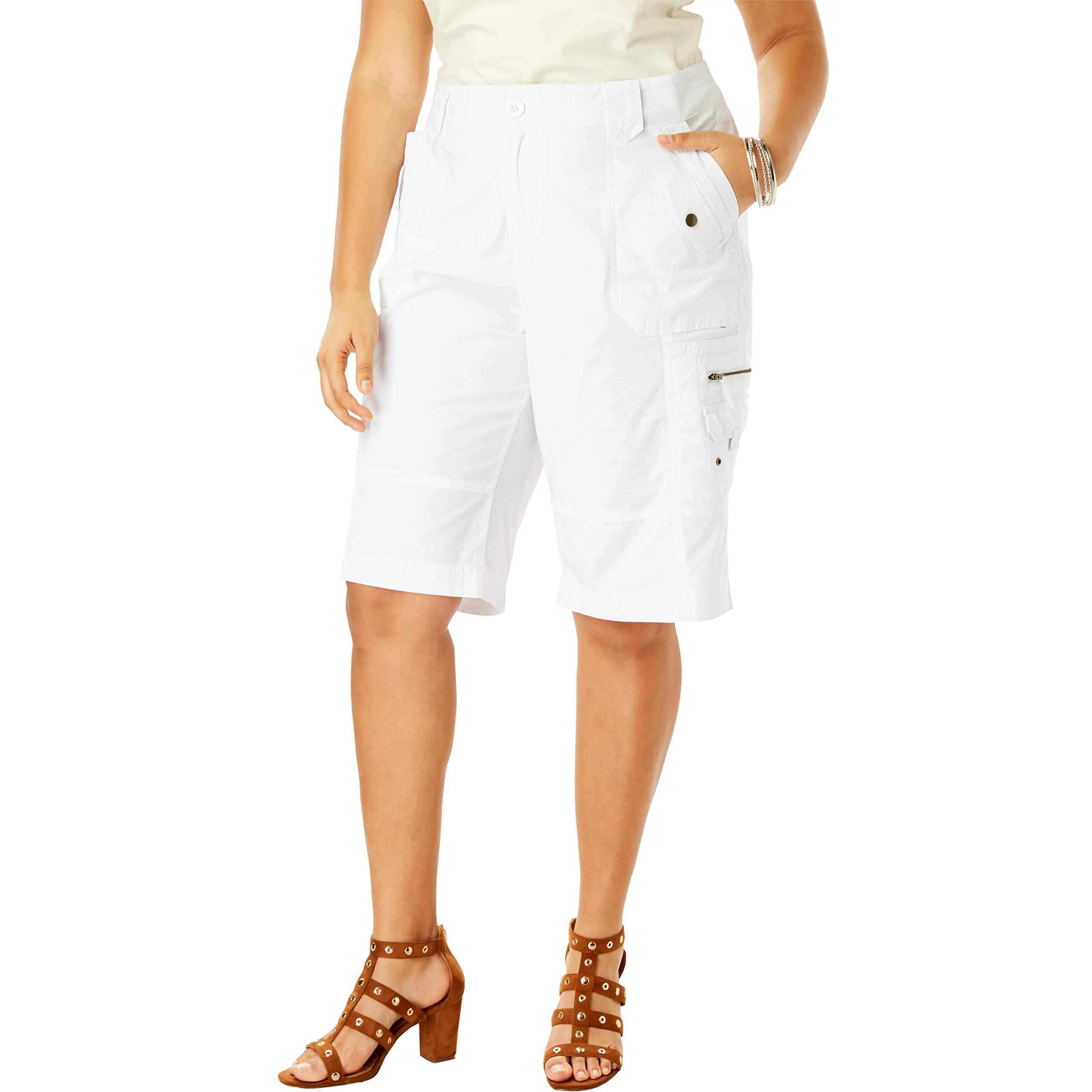 Roamans Women's Plus Size Cargo Shorts - White, 16 W by Roamans