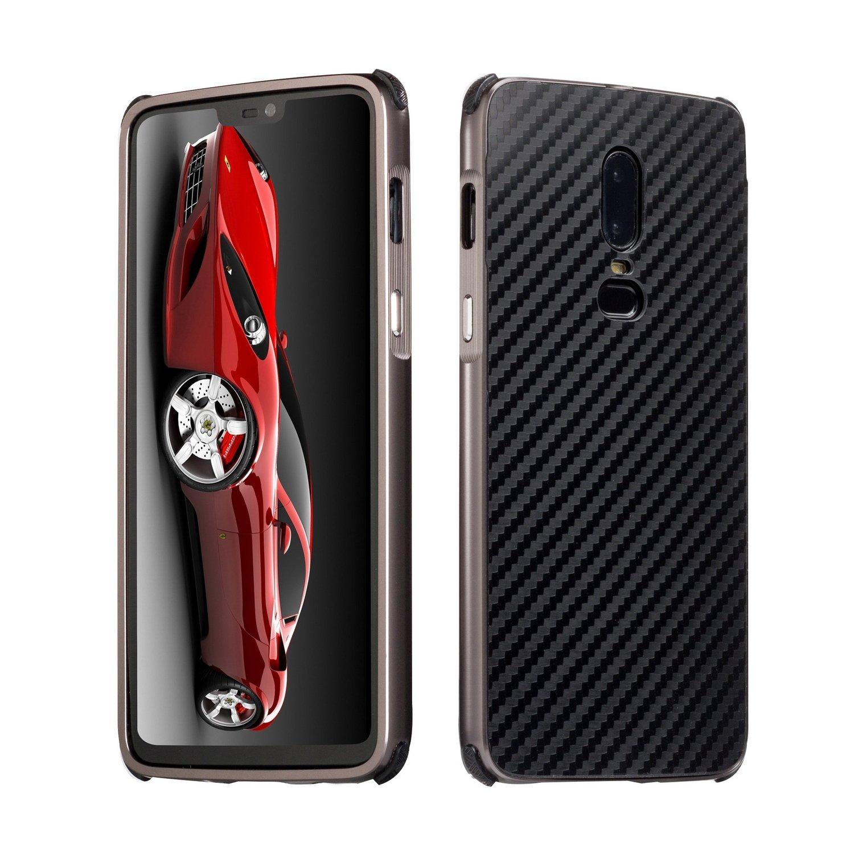 DAMONDY OnePlus 6 Case, Luxury Carbon Fiber Design Ultra thin Imitation Metal Brushed Premium Aluminum Shockproof Protective Bumper Hard Back Case Cover for OnePlus 6-Black