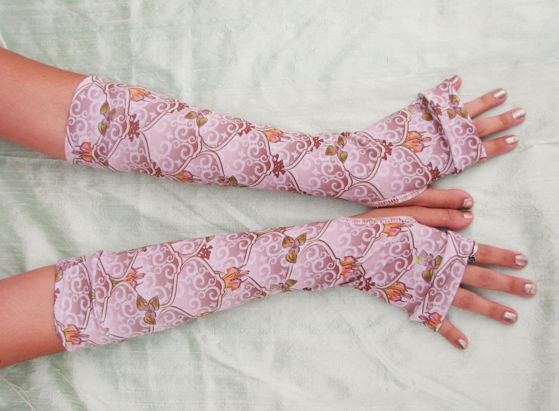 Woodland Fairy Arm Warmers Pink Mauve Brown