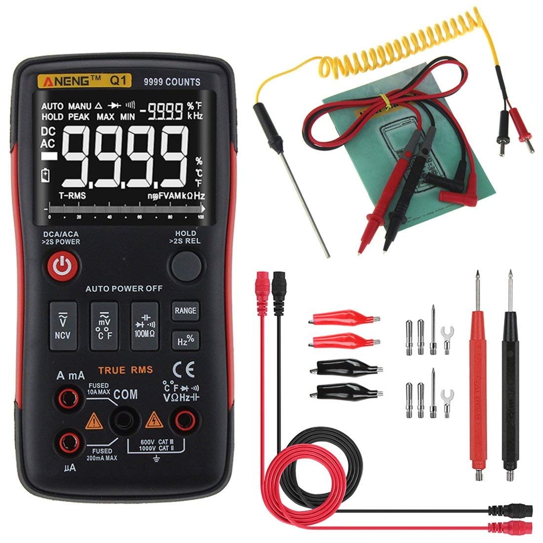 Multimetro digitale ANENG Q1 9999 Conteggi True RMS Auto/Manuale Gamma AC/DC Volt Amp Ohm Capacità Frequenza Temperatura Tester Formulaone