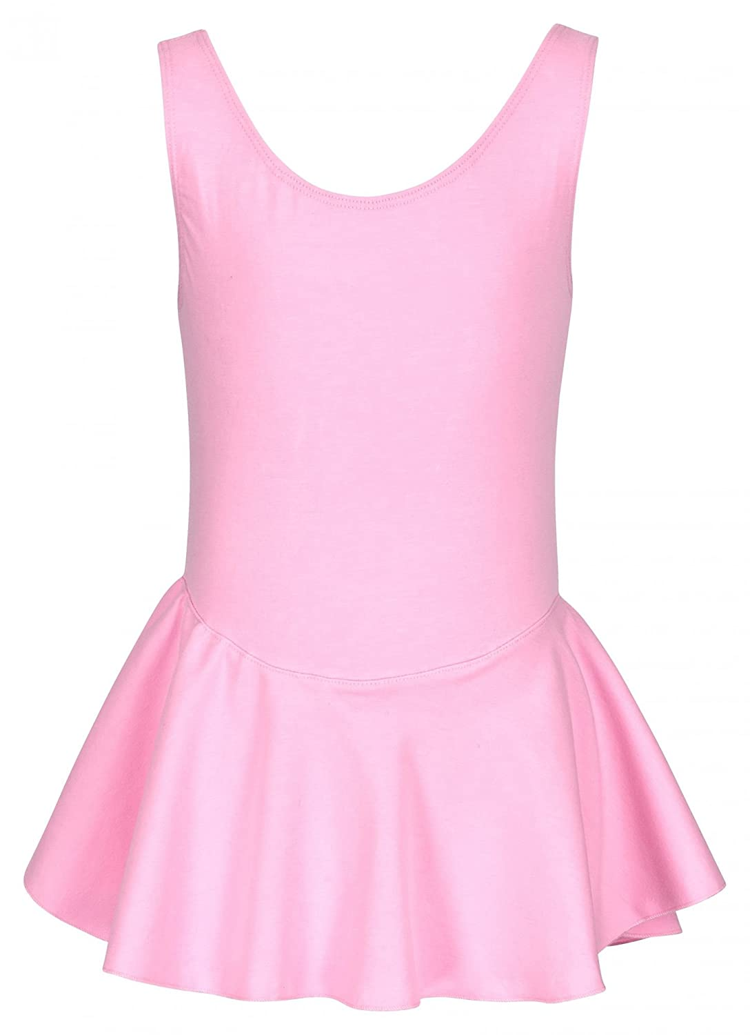 tanzmuster skirted ballet leotard 'Nora' for girls - wide straps - made of very soft and durable cotton blend - in pink, black, white, light blue, hot pink and purple