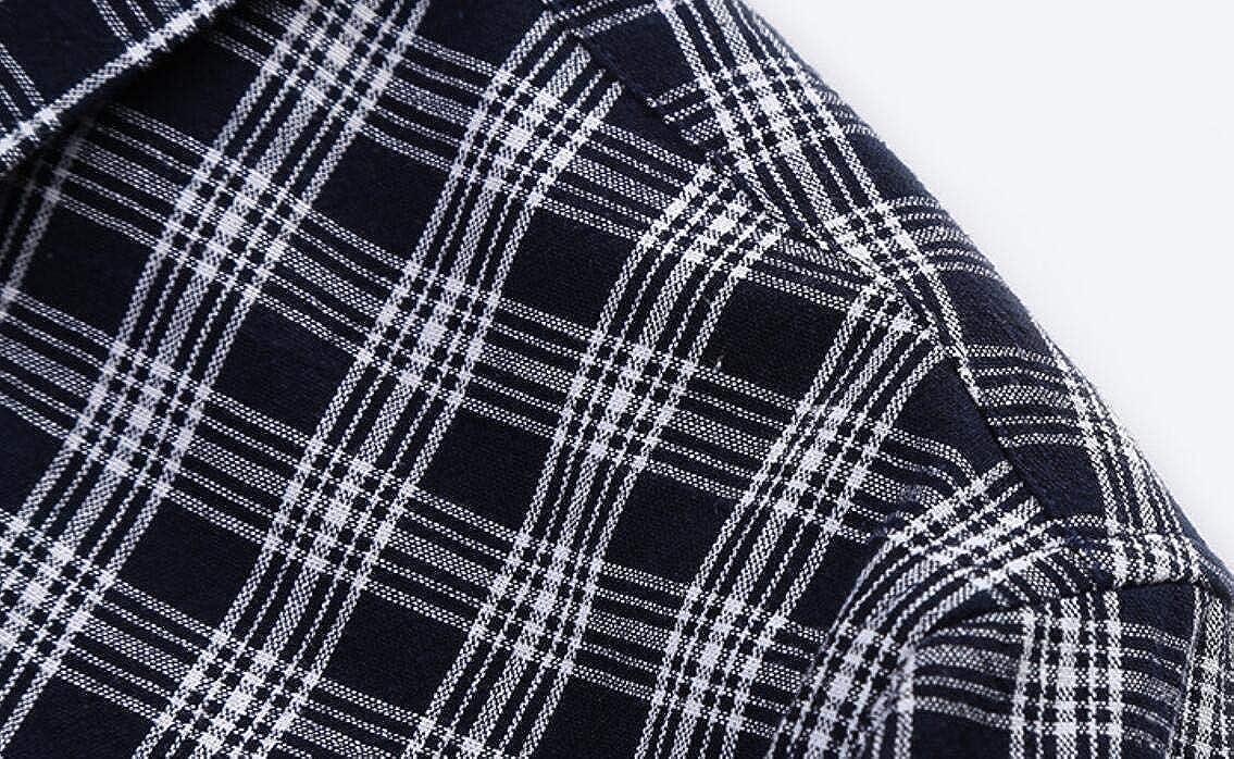 WSPLYSPJY Mens Premium Performance Natural Check Stretch Plaid Dress Shirt